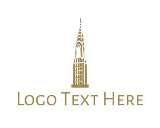 Ny - Golden Chrysler Building logo design