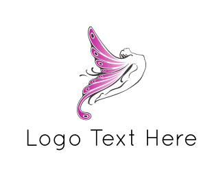 Butterfly - Fairy Butterfly Woman logo design