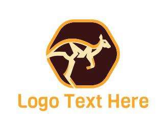 Hop - Abstract Kangaroo Emblem logo design