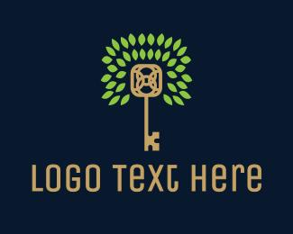Villas - Gold Key Tree logo design