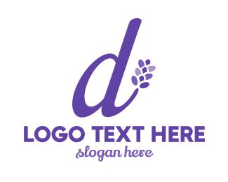Script - Violet D Flower logo design
