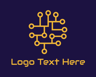 Neural Networks - Orange Circuit Network logo design
