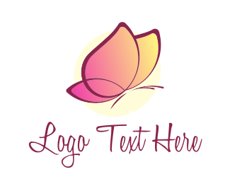 Orange And Pink - Pink Butterfly logo design