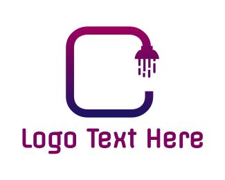 Shower - Gradient C Shower logo design