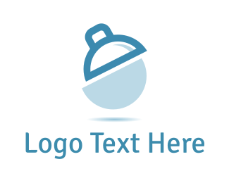 Rounded - White & Blue Lamp  logo design