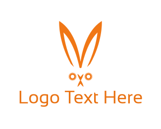 Ear - Orange Rabbit logo design