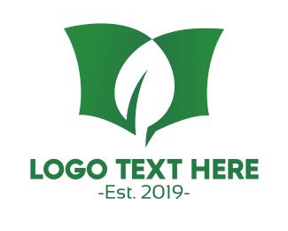 Friendly - Green Leaf Book logo design