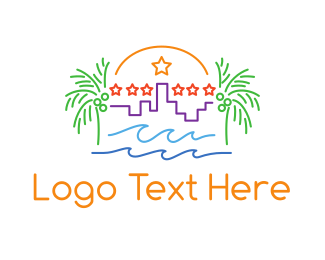 Destination - Tropical City Outline logo design