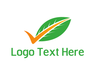 Checkbox - Leaf Tick logo design