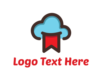 Cloud Computing - Blue Cloud & Red flag logo design