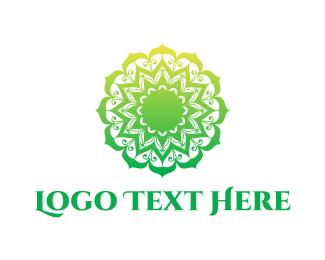 Indian Restaurant - Green Gradient Mandala logo design