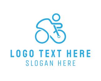 Ride - Blue Cyclist logo design