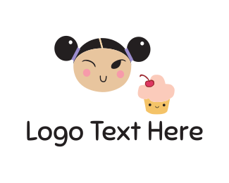 Chinese - Girl & Cupcake logo design