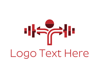 Fit - Red Dumbbell logo design