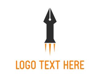 Blogger - Rocket Pen logo design