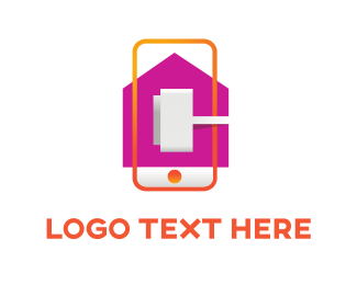 Orange And Purple - Mobile Plug logo design