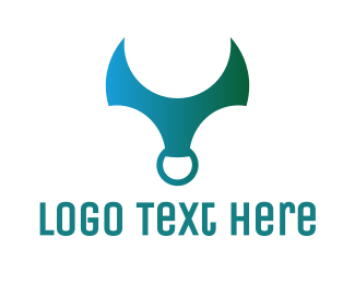 Ox - Gradient Horn Ring logo design