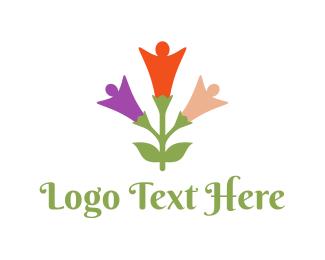 Health And Wellness - Human Flower logo design