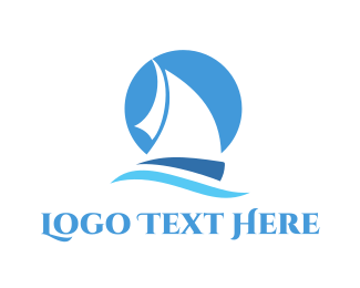 Sailing - Blue Sailboat logo design