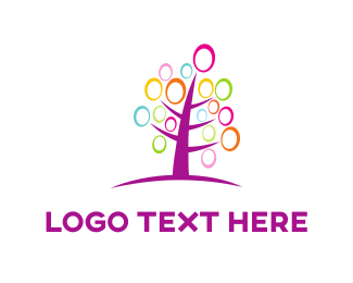 Purple And Pink - Pink Tree logo design