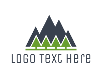 Pine Tree - Mountain Landscape logo design