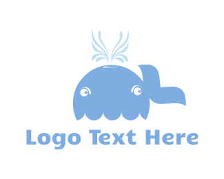 Swim - Blue Whale Cartoon logo design