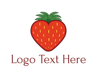 Berry - Strawberry Heart logo design