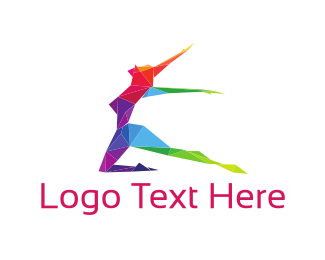 Girl - Colorful Geometric Dancing Girl logo design