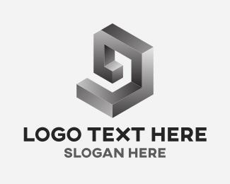 G - Silver Metal Frame logo design
