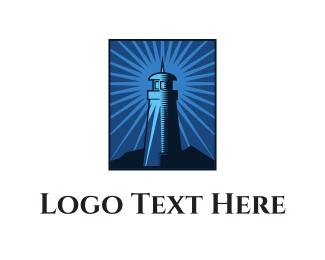 Tower - Blue Lighthouse  logo design