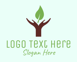 Green And Brown - Hands & Leaf logo design