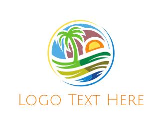 Coconut - Island Circle logo design