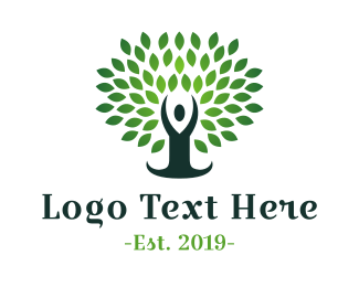 Yoga - Green Yoga Tree logo design