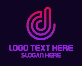 Streaming - Sound Wave D logo design