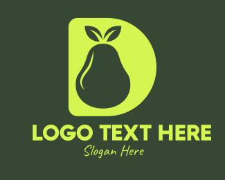 Pear - Yellow Pear D logo design