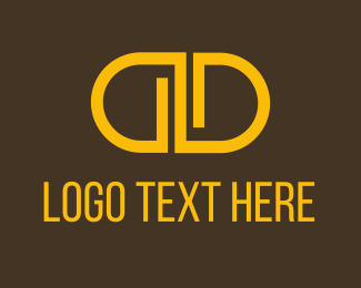 Rounded - Orange Double D logo design
