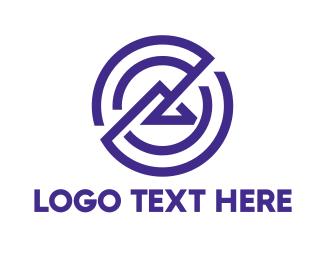 Wonder - Purple Circle Line Mountain logo design