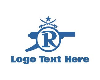 Gun - Cannon Letter R logo design