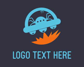 Martian - Blue Alien UFO logo design