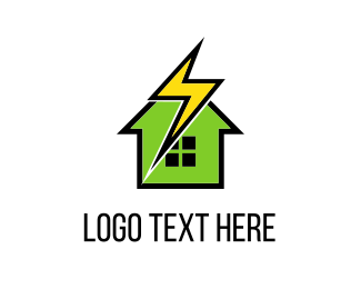 Fast - Thunderbolt & House logo design