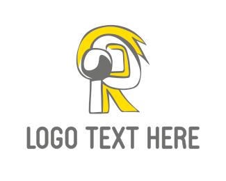 Headphones - Yellow Letter R logo design