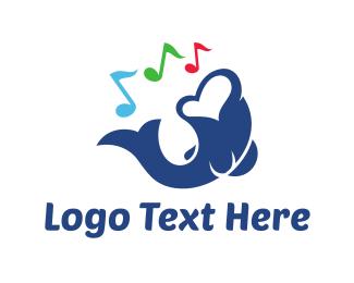 Musical Note - Singer Fish logo design