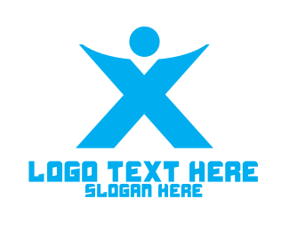 Crossfit - Blue X Person  logo design