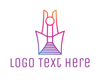 Shrine - Abstract Tower Outline logo design