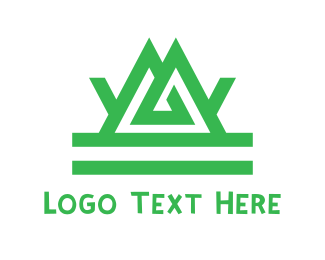 Hiking - Green Tribal Mountain logo design