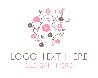Vine - Pink & Brown Flowers logo design