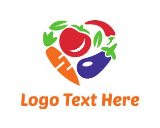 Grocery - Vegetables Heart logo design