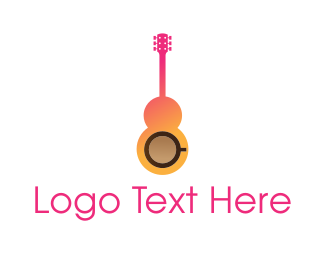 Guitarist - Music Cafe logo design