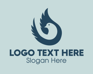 Feather - Blue Pigeon logo design