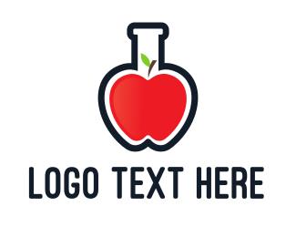 Chemical - Apple Test Tube logo design